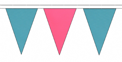 SKY BLUE AND PINK TRIANGULAR BUNTING - 10m / 20m / 50m LENGTHS